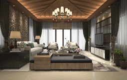 3d rendering tropical style resort suite living reception and lounge Royalty Free Stock Image