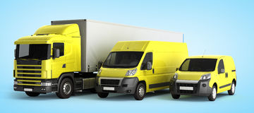 3D rendering of a truck a van and a lorry against a gradient bac. Kground Stock Images