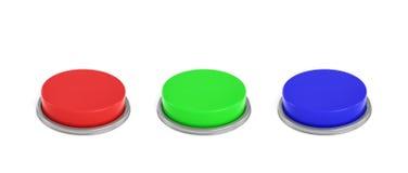3d rendering trzy kolorowego pchnięcie guzika, czerwień, błękit i zielony jeden, Fotografia Stock