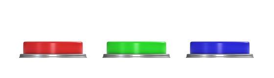3d rendering trzy kolorowego pchnięcie guzika, czerwień, błękit i zielony jeden, Fotografia Royalty Free