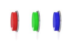 3d rendering trzy kolorowego pchnięcie guzika, czerwień, błękit i zielony jeden, Zdjęcia Royalty Free