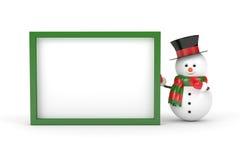 3d rendering trzyma puste miejsce deskę nad bielem bałwan Fotografia Stock