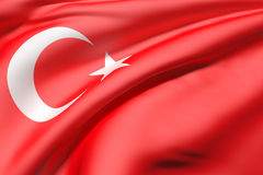 3d rendering of a Turkey flag. 3d rendering of a close-up of volume red Turkey flag waving in light Stock Photos