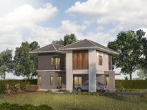 3d rendering twin house with garden terrace Royalty Free Stock Images