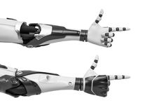 3d rendering of two android arms with fingers making a pointing gun gesture. Threat and violence. Technologies and robotics. New dangers Stock Photography