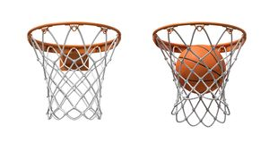 3d rendering of two basketball nets with orange hoops, one empty and one with a ball falling inside. royalty free stock photography
