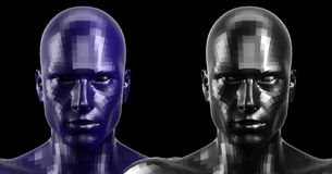 3d rendering. Two black and blue faceted android heads looking front on camera Stock Photography