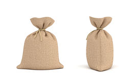 3d rendering of two canvas sacks tied with a rope, one sack in front view and another in side view. Royalty Free Stock Photos