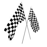 3D rendering of two checkered flags for racing Royalty Free Stock Photography