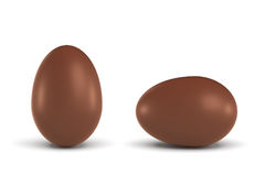 3d rendering of two chocolate eggs in a horizontal and a vertical view. Royalty Free Stock Photo