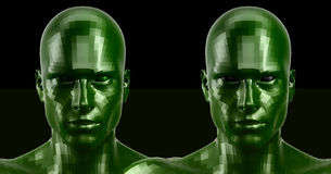 3d rendering. Two faceted green android heads looking front on camera Royalty Free Stock Photo
