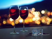 3D rendering two glasses with red wine Stock Photo