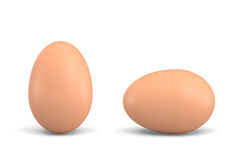 3d rendering of two isolated chicken eggs with brown shells where one stands upright and one lays on its side. Stock Images