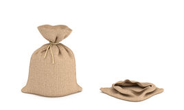 3d rendering of two isolated money bags, full and empty. Royalty Free Stock Photo