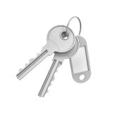 3d rendering of two isolated silver keys on a key ring with a blank label. Behind. Safety and protection. Keep information locked. Password protected entry Royalty Free Stock Image