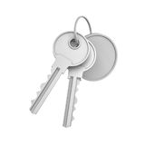 3d rendering of two isolated silver keys on a key ring with a blank round medal behind. Safety and protection. Keep information locked. Password protected Stock Photography