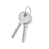 3d rendering of two isolated silver keys on a key ring. Safety and protection. Keep information locked. Password protected entry Royalty Free Stock Photography