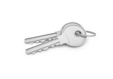 3d rendering of two isolated silver keys on a key ring. Safety and protection. Keep information locked. Password protected entry Royalty Free Stock Photos
