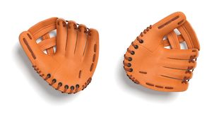 3d rendering of two left handed orange baseball gloves lying on a white background in a top view. Uniform sport equipment. Hand protection. Baseball catcher Royalty Free Stock Images