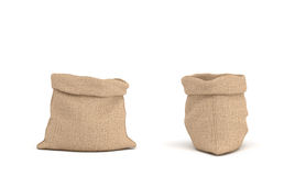 3d rendering of two open canvas sacks, one sack in front view and another in side view on white background. Royalty Free Stock Photos
