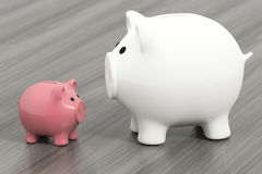 Two piggy banks. 3d rendering of two piggy banks Stock Photos
