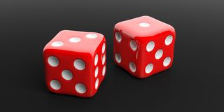 3d rendering two red dice, black background. 3d rendering two red dice on black background Stock Photos