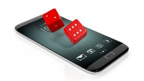 3D rendering of  two red dices on smartphone's screen Stock Photography