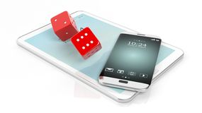 3D rendering of  two red dices with smartphone and tablet Royalty Free Stock Photos