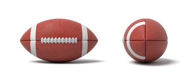 3d rendering of a two red oval balls for American football in front and side views. Team sport. Football and rugby. Scoring goals Royalty Free Stock Photography