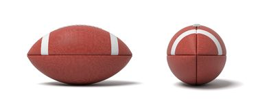 3d rendering of a two red oval balls for American football in front and side views. Team sport. Football and rugby. Scoring goals Royalty Free Stock Photos
