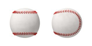 3d rendering of two white baseball isolated on a white background. Baseball equipment. Leather ball. Bat and ball sport Royalty Free Stock Images