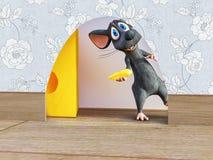 3D rendering uśmiechnięta kreskówki mysz przyglądająca za dziurze od zdjęcie stock