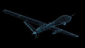 3D Rendering of UAV Drone shown with wireframe Stock Image