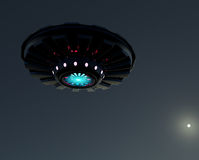 3D rendering UFO.Spacecraft on the background of the lunar sky . Royalty Free Stock Photos