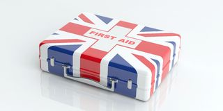 3d rendering UK flag first aid kit on white background Royalty Free Stock Images