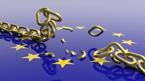 3D rendering of unchained chain against of eu flag Stock Image