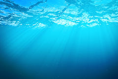 3d rendering underwater sea, ocean surface with light rays, high resolution Royalty Free Stock Photo
