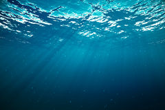 3d rendering underwater with sunrays and in deep tropical sea. Stock Photo