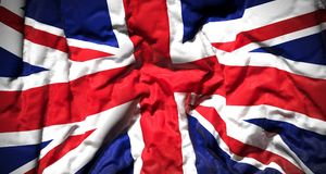 The United Kingdom Flag Closeup. 3D Rendering Of The United Kingdom Flag Closeup Fabric Royalty Free Stock Photo
