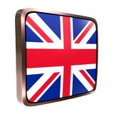 United Kingdom flag icon. 3d rendering of an United Kingdom flag icon with a metallic frame. Isolated on white background Royalty Free Stock Photo