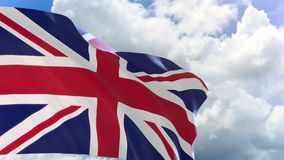 3D rendering of United Kingdom flag waving on blue sky background with Alpha channel can change background later. Great Britain flag stock video