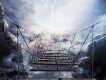 3D Rendering unstable bridge during a thunderstorm. 3D Rendering of bridge collapsing during a thunderstorm Royalty Free Stock Images