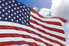 3D rendering of USA flag waving on blue sky background. 3D rendering of United States of America flag waving on blue sky background, Independence Day of the Stock Photography