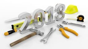 3D rendering Various hand tools with 2018 text, isolated on white Stock Photos