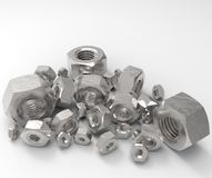 A 3d rendering of various scratched metric nuts Royalty Free Stock Photo