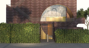 3d rendering vertical green wall garden in front of nice red brick building. 3d rendering by 3dsmax program Royalty Free Stock Photo