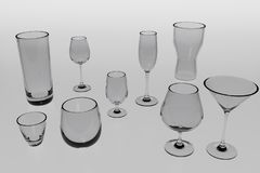 A 3d rendering of very different glasses for different occasions. Without shadow, light grey tinted glasses on an light grey background Stock Images