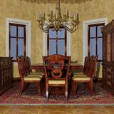 3D Rendering Victorian Dining Room Stock Photo