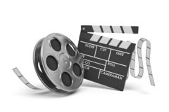 3d rendering of a video reel aand black clapperboard with empty fields on white background.