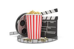 3d rendering of a video reel, popcorn bucket and a clapperboard on a white background. Cinema and movies. Watching films. Entertainment Stock Photo